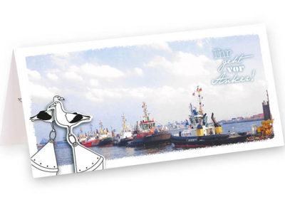 Ankerwurf Hochzeit Homohochzeit maritime Klappkarte Grusskarte Frau Schnobel Grafik Front