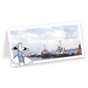 Ankerwurf Hochzeit Homohochzeit maritime Klappkarte Grusskarte Frau Schnobel Grafik Titel