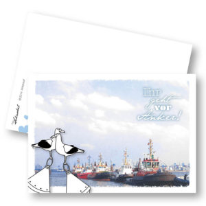 Ankerwurf Hochzeit Homohochzeit maritime Postkarte Frau Schnobel Grafik Front