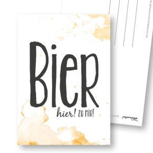 Bier lustige Postkarte Frau Schnobel Grafik Hochkantkarten