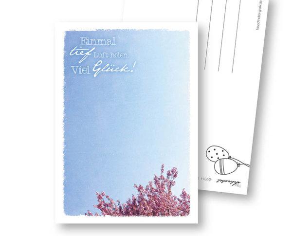 Durchatmen Glück Postkarte Frau Schnobel Grafik Hochkantkarten
