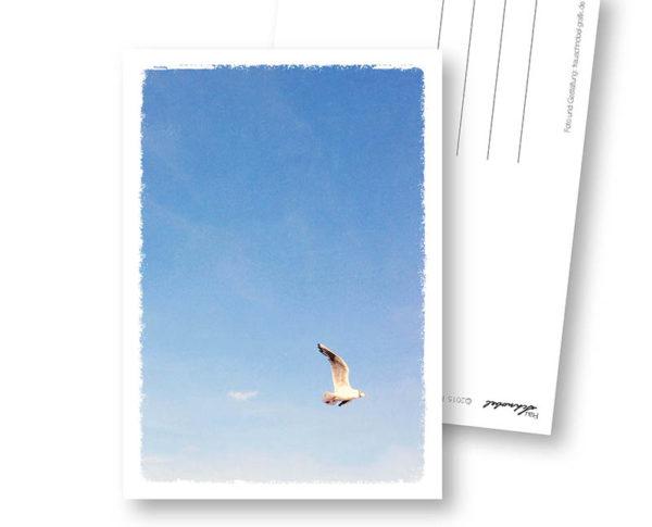 Fliegen maritime Postkarte Trauerkarte Frau Schnobel Grafik Hochkantkarten