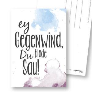Gegenwind lustige Postkarte Frau Schnobel Grafik Hochkantkarten