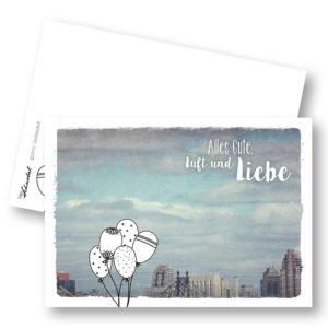 Großstadtluft Urbane Geburtstagskarte Postkarte Luftballons NYC Frau Schnobel Grafik Hochkantkarten