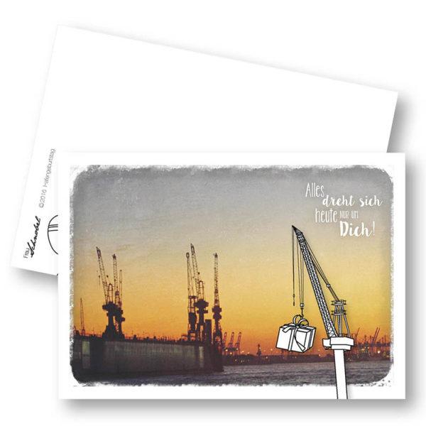Hafengeburtstag Urbane Geburtstagskarte Postkarte Hamburger Hafen Kran Frau Schnobel Grafik Hochkantkarten