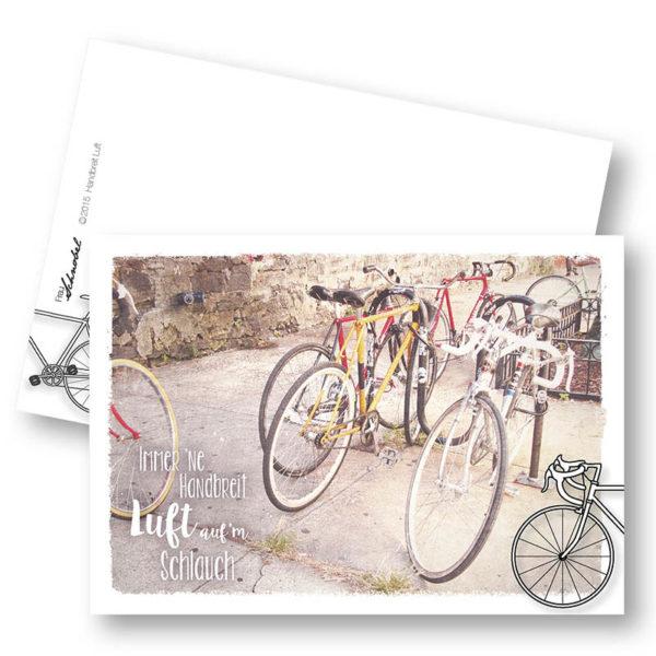 Handbreit Luft Herdentiere Fahrrad Postkarte mit Ankern Frau Schnobel Grafik Hochkantkarten