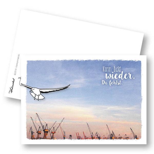 Krankommando Maritime Postkarte Möwe Abschied Vermissen Frau Schnobel Grafik Hochkantkarten