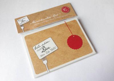 Menükarte Tischkarte 3 Gänge Frau Schnobel Grafik Verpackung