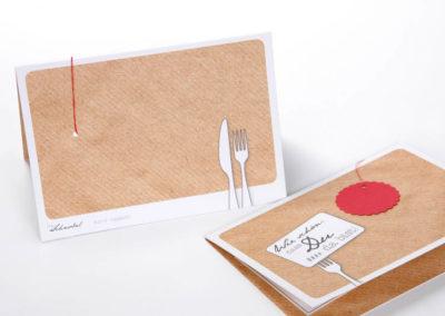 Menükarte Tischkarte 3 Gänge Frau Schnobel Grafik Vorne Hinten