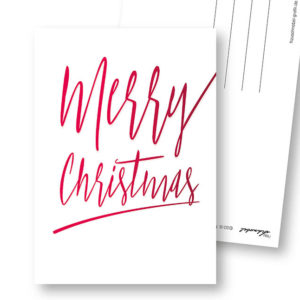Merry Christmas A schlichte Weihnachts-Postkarte Frau Schnobel Grafik Hochkantkarten