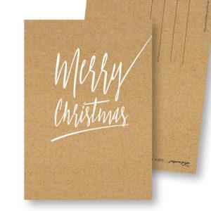 Merry Christmas B schlichte Weihnachts-Postkarte Kraftpapier Optik Frau Schnobel Grafik Hochkantkarten