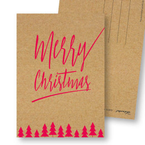 Merry Christmas D Design-Weihnachts-Postkarte Kraftpapier Optik Frau Schnobel Grafik Hochkantkarten