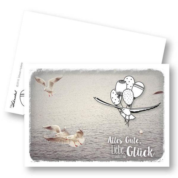 Möwen-Hysterie Maritime Geburtstagskarte Postkarte Möwe Frau Schnobel Grafik Hochkantkarten