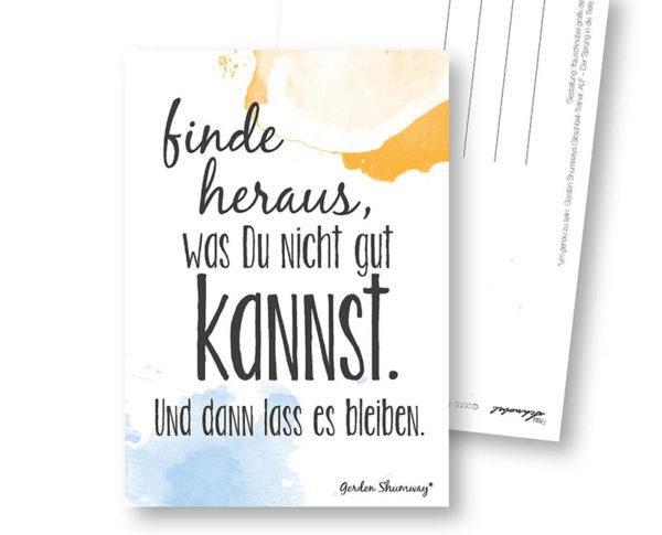 Motivation lustige Postkarte Frau Schnobel Grafik Hochkantkarten