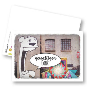 Roar Urbane Dankeskarte Postkarte Danke Graffiti Frau Schnobel Grafik Hochkantkarten