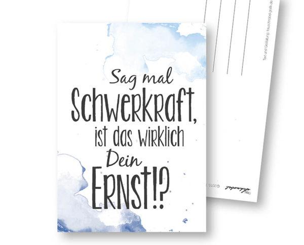 Schwerkraft lustige Postkarte Frau Schnobel Grafik Hochkantkarten