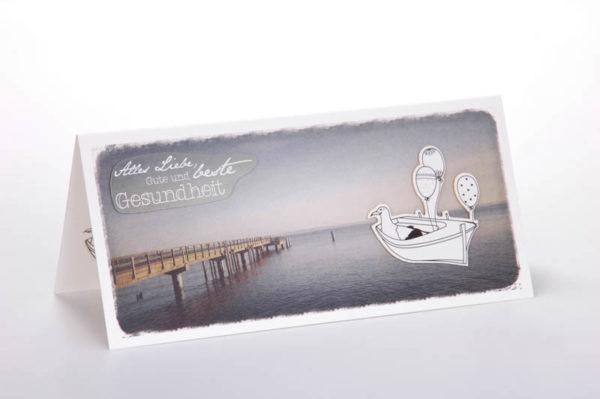 Weite See Geburtstag maritime Klappkarte Grusskarte Frau Schnobel Grafik Front