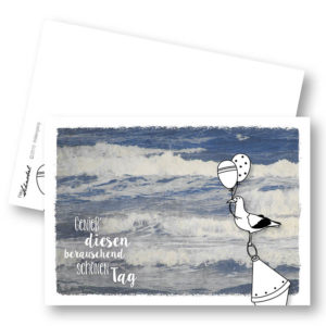 Wellengang Maritime Geburtstagskarte Postkarte Möwe Frau Schnobel Grafik Hochkantkarten