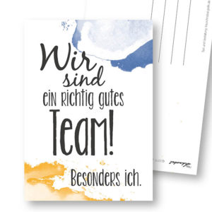 gutes Team lustige Postkarte Frau Schnobel Grafik Hochkantkarten