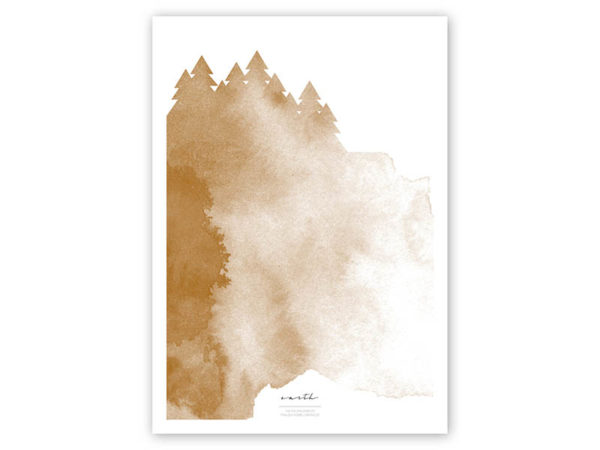 FOUR Elements Earth Aquarell A4 vier Elemente Poster Earth Titel