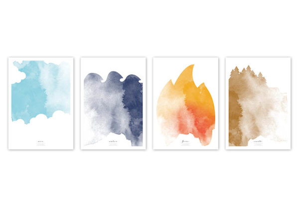 FOUR Elements Air Water Fire Earth Aquarell A4 vier Elemente Poster Luft Wand alle