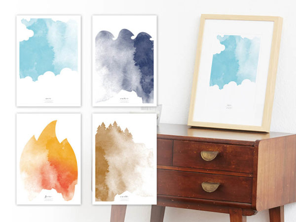 FOUR Elements Air Water Fire Earth Aquarell A4 vier Elemente Poster Luft Wand Schrank