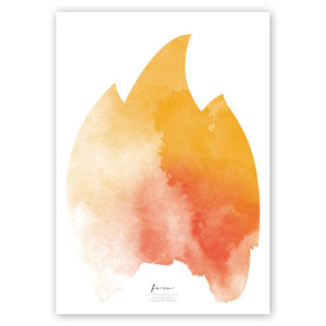 FOUR Elements Fire Aquarell A4 vier Elemente Poster Fire Titel