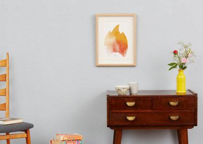 FOUR Elements Fire Aquarell A4 vier Elemente Poster Fire Wand
