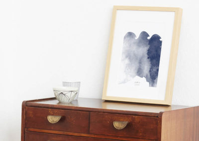 FOUR Elements Water Aquarell A4 vier Elemente Poster Water Wand Seite