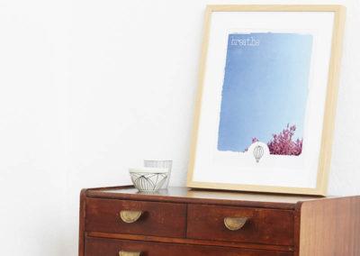 Poster Breathe Typoposter Durchatmen Polaroid Breathe A3 Seite