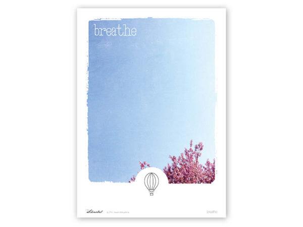 Poster Breathe Typoposter Durchatmen Polaroid Breathe A3 Titel