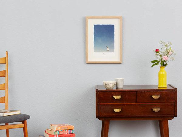 maritimes Poster mit Möwe hellblau Hamburger Hafen A4 Wand klein