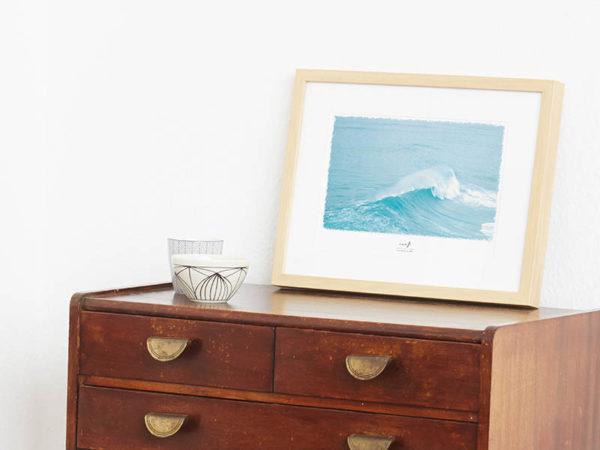 Wellen-Poster Surf maritimes Poster mit Welle hellblau Portugal A4 Wand Seite