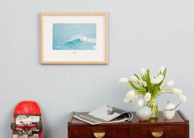 Wellen-Poster Surf maritimes Poster mit Welle hellblau Portugal A4 Wand Wand klein