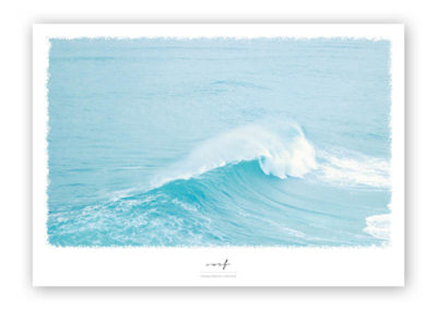 Wellen-Poster Surf maritimes Poster mit Welle hellblau Portugal A4 Wand Titel