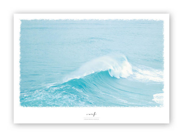 Wellen-Poster Surf maritimes Poster mit Welle hellblau Portugal A4 Wand Titel