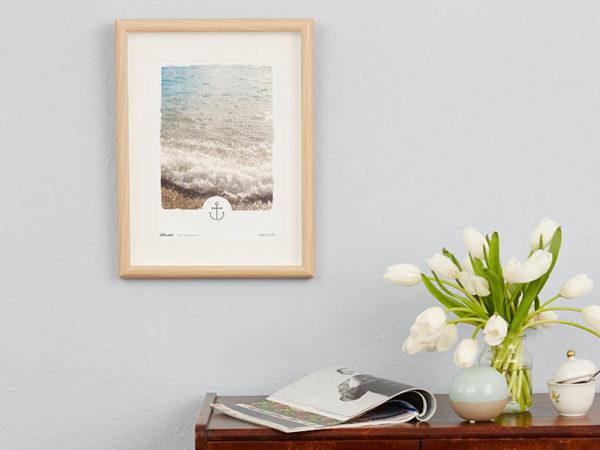 Poster Wellen Meer maritimes Poster Polaroid Typoposter A4 Wand