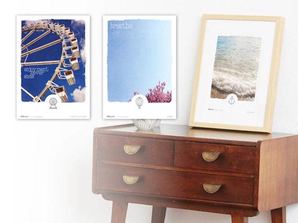 Poster Wellen Meer maritimes Poster Polaroid Typoposter A4 alle