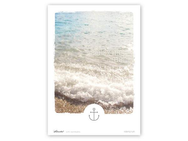 Wellen-Poster Relaxing Rush Poster Wellen Meer maritimes Poster Polaroid Typoposter A3 Titel