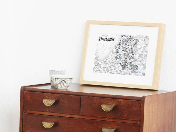 Rapü Design Hamburg Eimsbüttel Stadtteilposter Stadtposter Stadtkarte A4 Seite