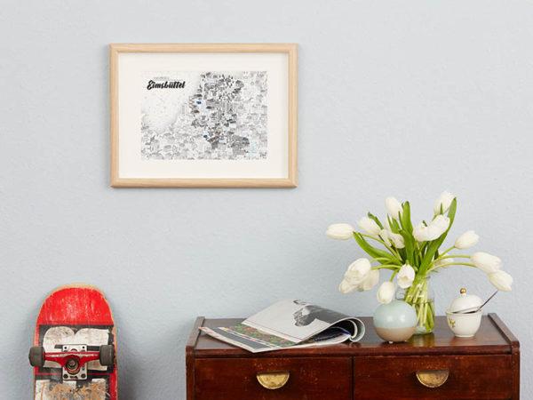 Rapü Design Hamburg Eimsbüttel Stadtteilposter Stadtposter Stadtkarte A4 blaue Wand klein
