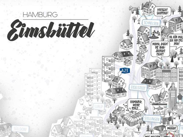 Rapü Design Hamburg Eimsbüttel Stadtteilposter Stadtposter Stadtkarte A4 Detail Headline