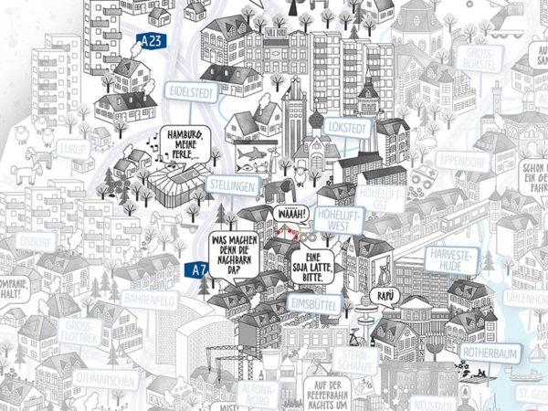 Rapü Design Hamburg Eimsbüttel Stadtteilposter Stadtposter Stadtkarte A4 Detail 1