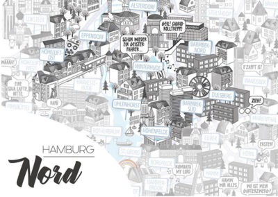Rapü Design Hamburg Nord Stadtteilposter Stadtposter Stadtkarte A4 Detail Headline
