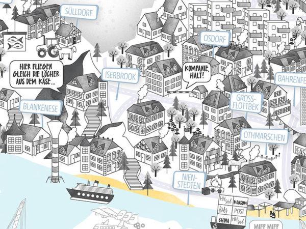 Rapü Design Hamburg Altona Nienstedten Blankenese Stadtteilposter Stadtposter Stadtkarte A3 Detail