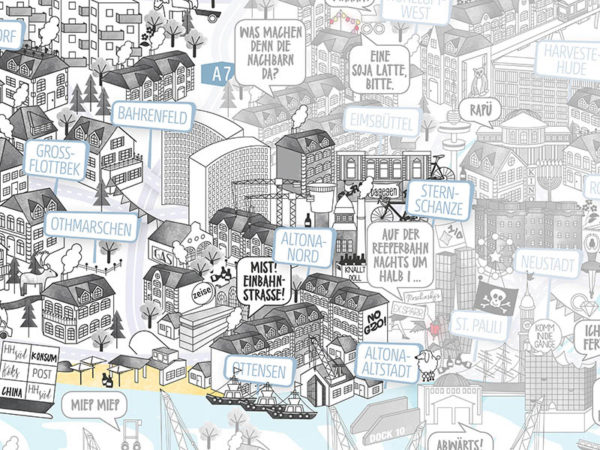 Rapü Design Hamburg Altona Bahrenfeld Ottensen Stadtteilposter Stadtposter Stadtkarte A3 Detail