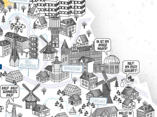 Rapü Design Hamburg Bergedorf Curslack Stadtteilposter Stadtposter Stadtkarte A4 Detail