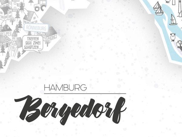 Rapü Design Hamburg Bergedorf Stadtteilposter Stadtposter Stadtkarte A4 Headline