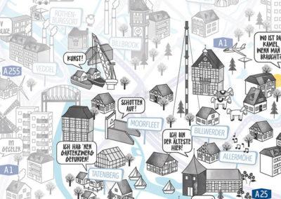 Rapü Design Hamburg Bergedorf Vierlande Stadtteilposter Stadtposter Stadtkarte A4 Detail