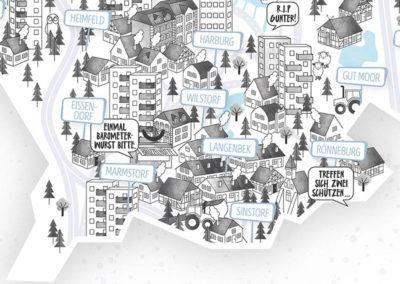 Rapü Design Hamburg Harburg Stadtteilposter Stadtposter Stadtkarte A4 Detail